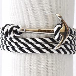 bracelet marin Breton en noir et blanc