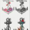 4 ancres et quelques fleurs tatouées