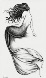 douce sirène dessinée à poser en tatouage