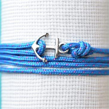 Bracelet marin avec une fine ancre gravée