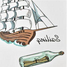 vogue le bateau en tatouage marin
