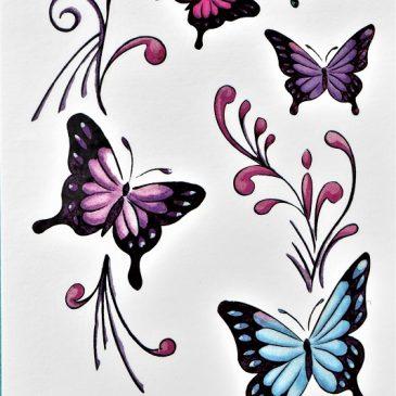 envolée de papillons pour tatouage éphémère