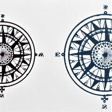 boussole et rose des vents en tatouage éphémère