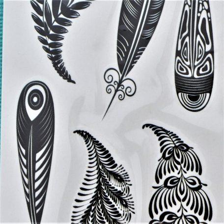 tatouage éphémère de plumes noires ethniques