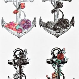 fleurs en tatouage éphémère ancres et coquillages