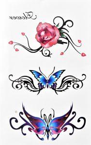 tatouage éphémère fleurs et papillons